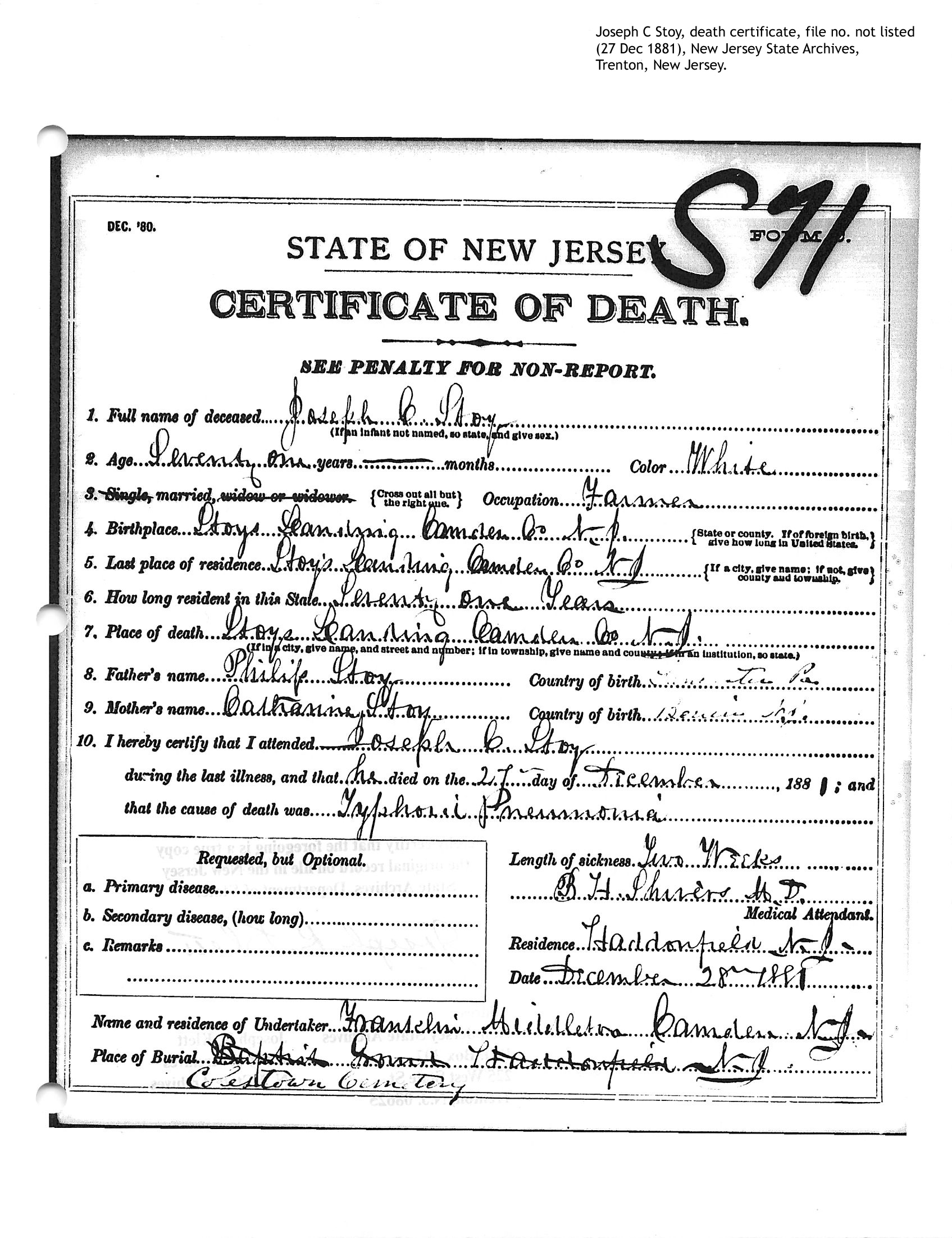 Stoy family genealogy person page death certificate joseph c stoy 1betcityfo Choice Image