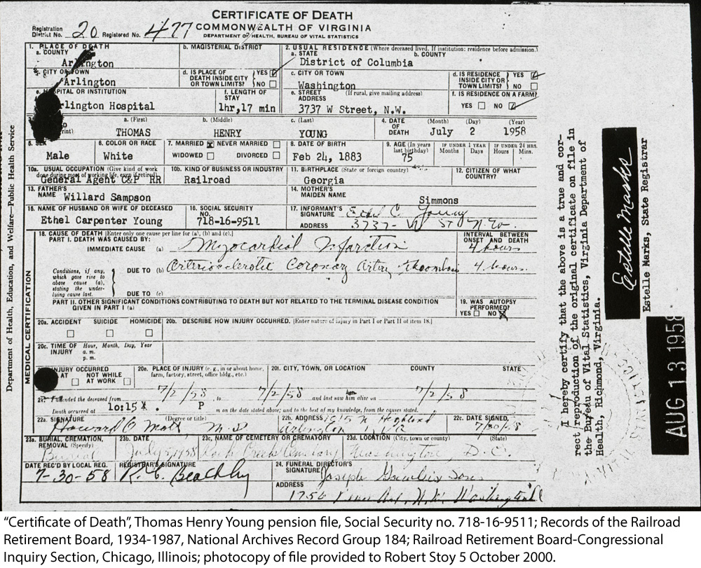 Stoy family genealogy person page death certificate of thomas henry young 1betcityfo Images